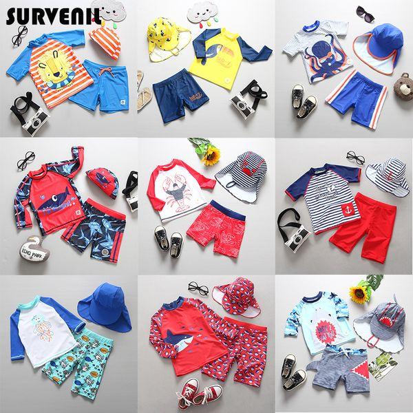 Children's Swimsuit Rashguard Boy Sun UV Protection With Sleeves Boys Swimwear Long Sleeve Beach Swimming Bathing Suit Children