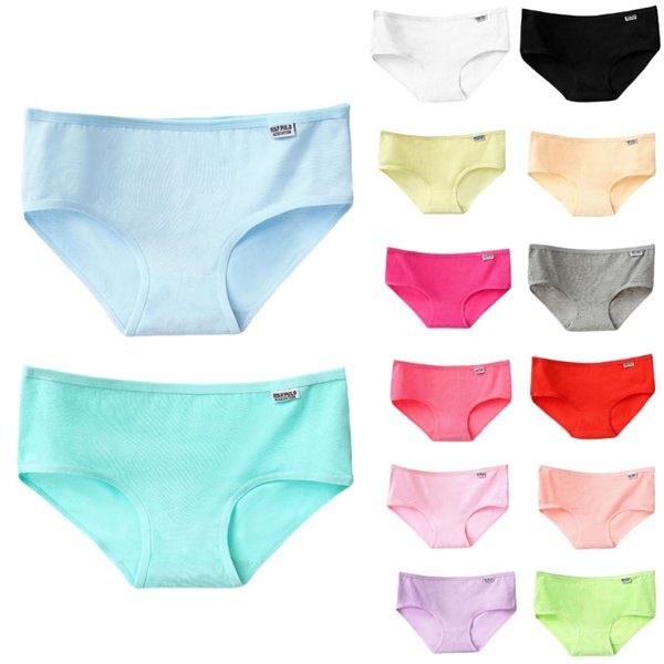 Women 2XL Size Cotton Briefs Candy Solid Color Panties Low Waist Plus Size Underwear Lingerie Breathable Knickers Soft
