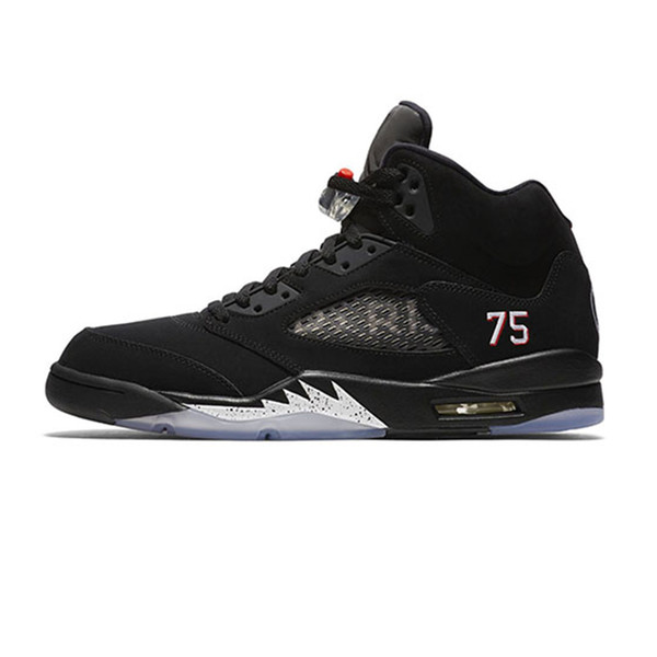 Acheter Chaussures De Basket Jordan Air Retro 5 5s PSG X Paris Saint Germain 75 Noir Blanc Rouge Bleu Suède International Flight OG Black Metallic