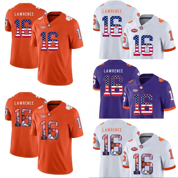 2019 Clemson Tigers 16 Trevor Lawrence Clemson Football Jerseys Mens Women Youth Ncaa College Double Stitched American Flag Number From Felixtrade