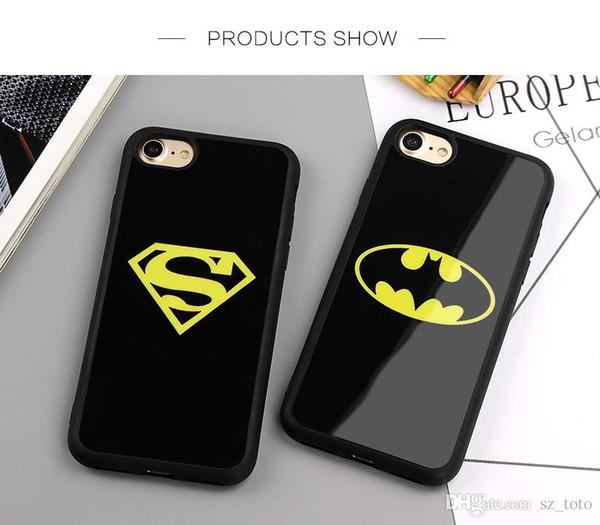 Mytoto Ayna Superman Batman Durumda iPhone 7 Için Artı 6 6 s 8 Artı X Kılıfları Arka Kapak iphone 6 S 5 5 S SE Fundas Coque Kapakları