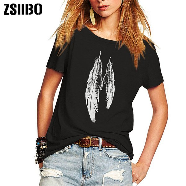 ZSIIBO Sommer Frau T Shirt Street Style Federn gedruckt Kurzarm T-Shirt lässig lose Lady Tops Junior Tees