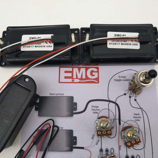 emg 81/85 active pickup electric guitar humbucker pickups with 25k  potentiometer mounting accessories +