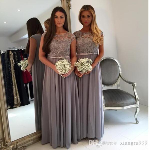 2017 Elegant Long Grey Bridesmaid Dresses Jewel Capped Sleeves A-line Bridesmaid Dress Floor Length Chiffon Special Occasion Dress