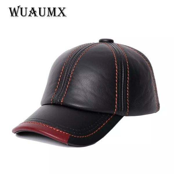NEW Cowskin Men's Baseball Cap Lined With Cashmere Polo Cap Fall Winter Genuine Leather Hat For Women Keep Warm Cow Leather Hat