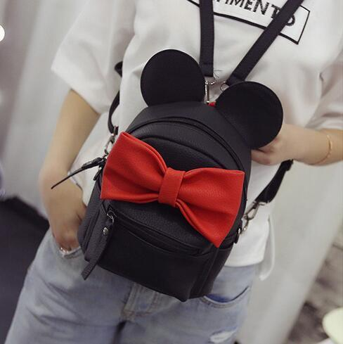 Mickey Backpack New Female Bag Quality Pu Leather Women Bag Mickey Ears Big Bow Sweet Girl Shoulder Bags Parent-child Travel Bag