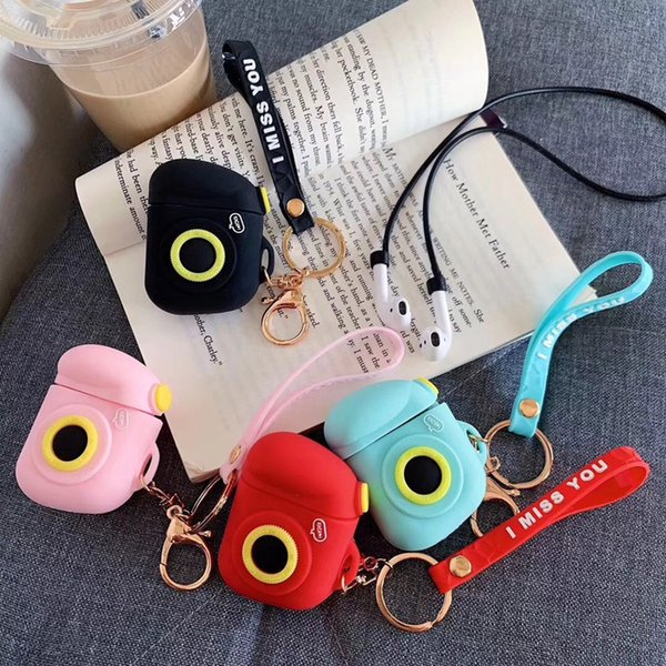 Camera Silicone Airpods Case Desinger Earphone Full Cover Shockproof Protector with Strap for Apple Bluetooth Wireless Charging Box Headset