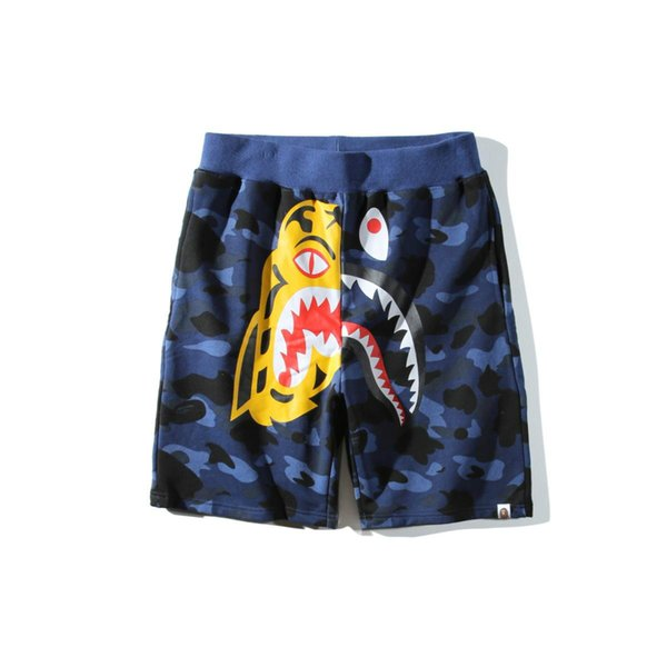 Teenager Hip Hop Beach Pants Shorts Pants Men's Shark Head Blue Purple Red Camouflage Lover Casual Shorts Panties Pants Sizes M-2XL