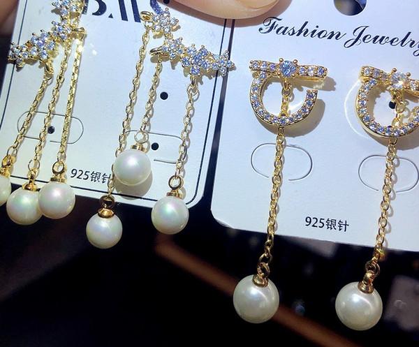 Yüksek kalite düşük fiyat toptan 10 adet / grup kristal elmas 925 gümüş bayan küpe rastgele 7.7bhjjv
