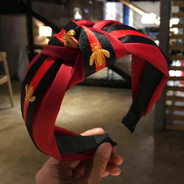 Casual Diadema para Las Mujeres Cinta de Rayas Anudadas Diadema Señoras Hairband Moda Niñas Accesorios Para el Cabello de Tela Ancha