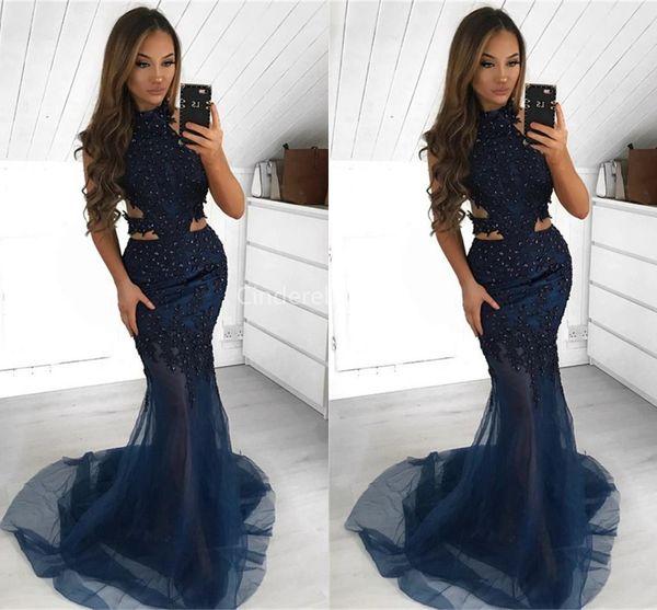 Saudí árabe Halter Azul marino Vestidos de fiesta Sirena 2019 Apliques de encaje Lado de corte lateral Ver a través de vestidos de fiesta de celebridades Batas Abiye