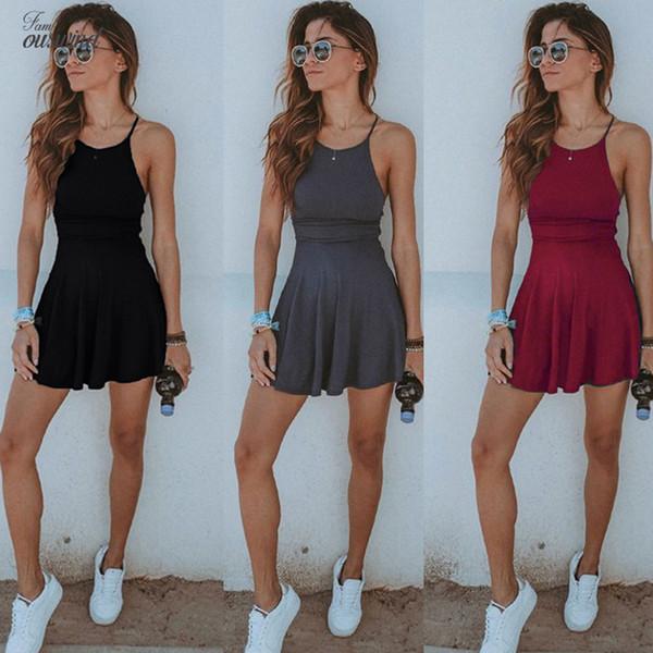 Linho Mulheres vestido sem mangas Mini Sólidos Praia Feminino Vestido Sexy Ladies vestido curto Verão Roupas Femininas Vestido de Verão roupas de grife