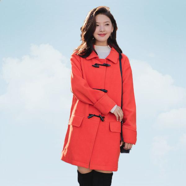 2019 Nova Mulher do outono Coats Mulheres Moda Estilo da faculdade de chifre fivela Médio Longo Cabeludo Jacket coreano Inverno Overcoat Feminino SS722