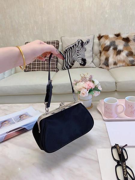 las mujeres del diseñador de moda tela de nylon resistente al agua bolsa de hebilla de material de la bolsa de oro clip de la bolsa colgada del hombro del bolso de la caja de regalo