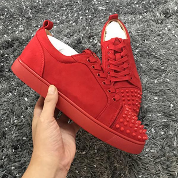 New low cut camurça cravado toe flats casuais red bottom sapatos de luxo para homens e mulheres partido designer de tênis famosa marca w049