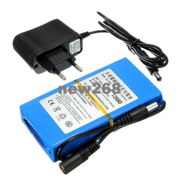 Freeshipping 6800mAh para DC 12V Interruptor recargable Super Protable Batería de iones de litio Enchufe de la UE para cámaras de videocámaras