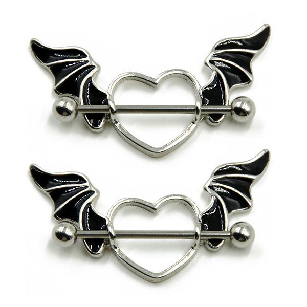 2pcs/lot Punk Stainless Steel Nipple Piercing Bat Wing Heart Nipple Ring Hip Hop Body Piercing Jewelry For Women
