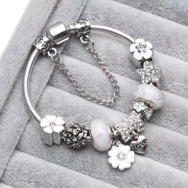 top popular WHITE PINK BLUE COLORCharm Beads fit Jewelry 925 Silver Bracelets Snowflake Pendant Bangle charms Diy Jewelr 2021