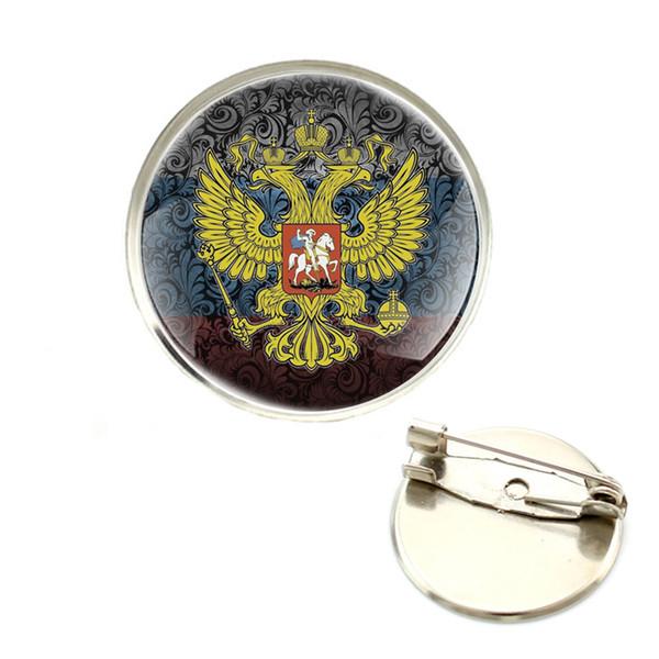 Classic Fashion Russian National Emblem Double Eagle Simbolo Spilla Distintivo in vetro Cabochon Cupola per abiti borsa Decorazione Pins
