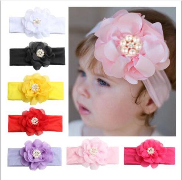 Neue Ankunft 8 Farben Mode Kinder Chiffon Blume Kristall Hairband Schöne Prinzessin Hairband Haarschmuck Fotografie Requisiten FD3167