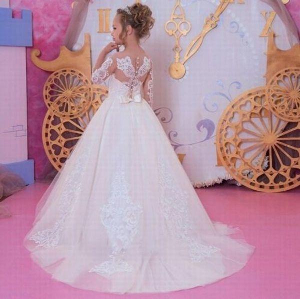 2019 Vestidos Primera Comunion Ball Gown Flower Girl Dress Lace Toddler Glitz Pageant Dresses Pretty Kids Prom Gown