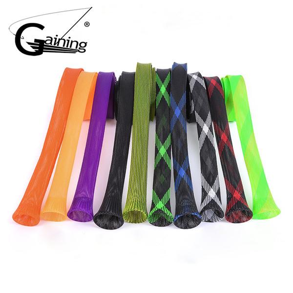 10pcs fishing rod sleeve cover 170 cm 35 mm braided mesh casting fishing rod cover pole sock 10 colors thumbnail