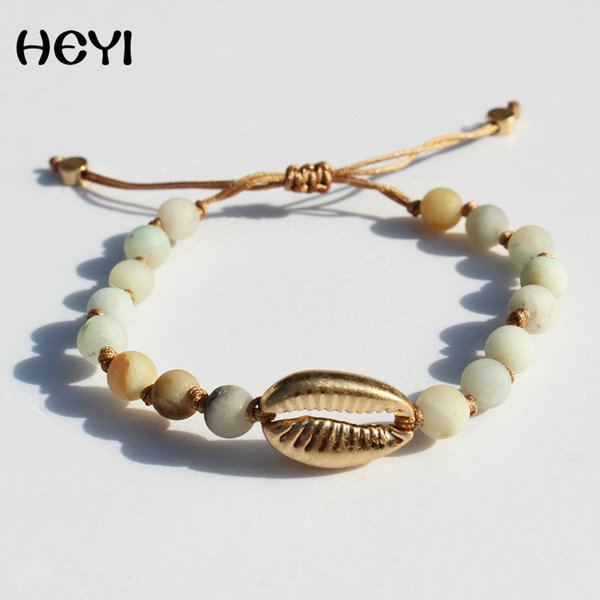 2019 HEYI New trendy women high quality adjustable natural stone bracelet handmade bead jewelry lovers couple gift with shell