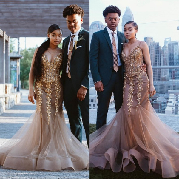 Brown African Black Girls Prom Dresses 2019 Spaghetti Straps Floor Length Beadings Crystals Formal Dress Evening Gowns Wear robe de soiree