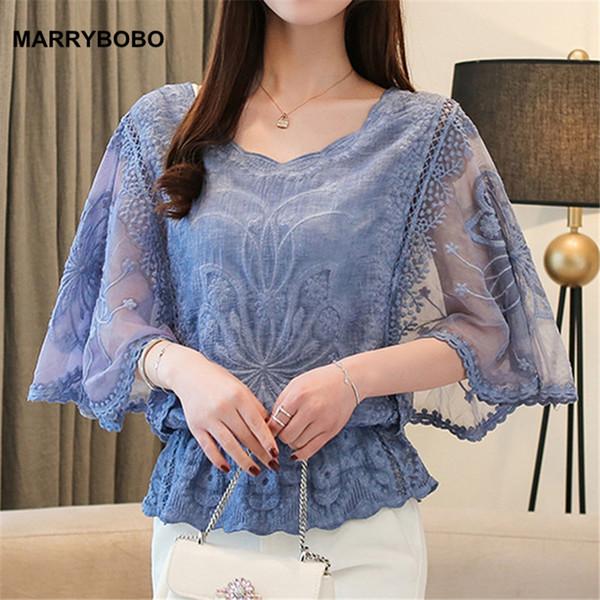 Moda Kadın Bluzlar 2019 Yaz Rahat Kısa Kollu O-Boyun Şifon Bluz Pamuk Kenar Dantel Ofis Bayanlar Bluzlar Tops