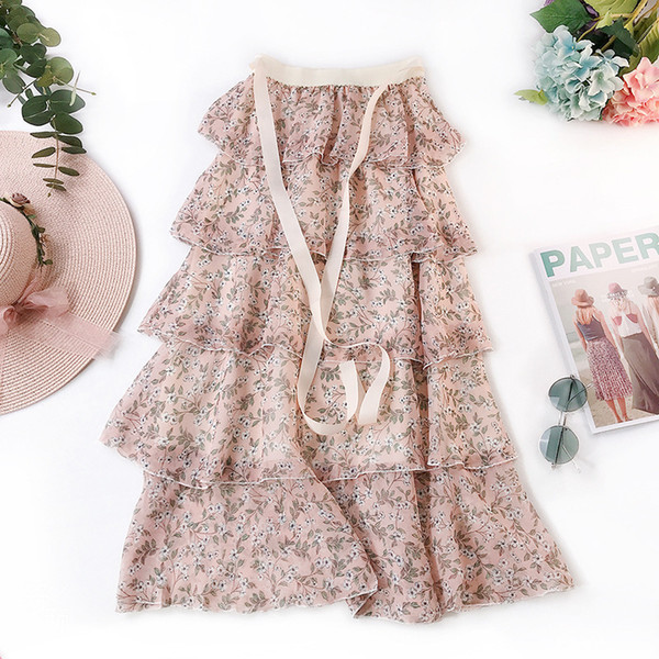 Cake Skirt 2019 Summer Wear Hong Kong Flavor Temperament Small Fresh Printing Chiffon Longuette Fairy Half-body Skirt