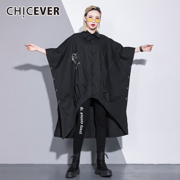 CHICEVER Spring Print Women Black Shirt Square Collar Three Quarter Batwing Button Side Ring Sleeve Loose Female Top Clothing