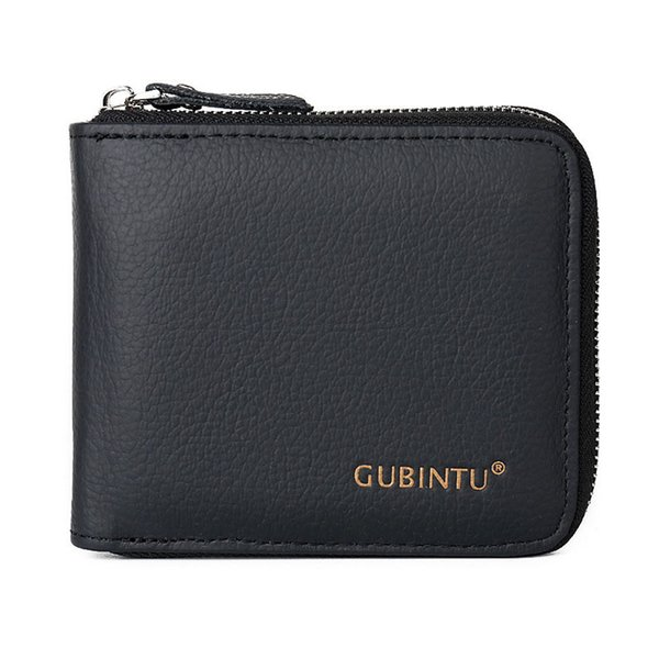 Men Small Wallet Multifunction Purse With Coin Pocket Zipper Genuine Leather Money Bag Wallets Black Fa1