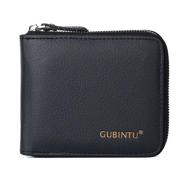 Portafoglio multifunzione da uomo con portamonete e portamonete Portafoglio portamonete in vera pelle nera Fa1