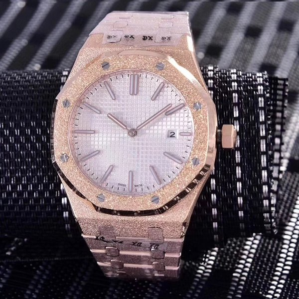 15 colors Diamond automatic Royal Frosted Black Dial Oak mens 18k rose Gold Watch Silver-tone hands Fixed bezel 42mm size glide men watch
