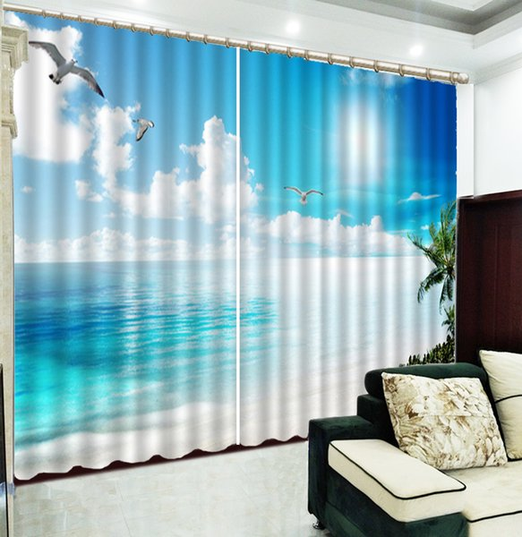 2019 3d Curtain Blue Sky, White Clouds, Seagull, Beautiful 3D Seascape  Curtains Living Room Bedroom Beautiful Practical Blackout Curtains From ...