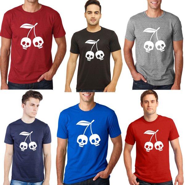Halloween Unisex Cotton O Neck T shirts Halloween Cherry skull Tees Skull teesShort Sleeve Plus Size t-shirt