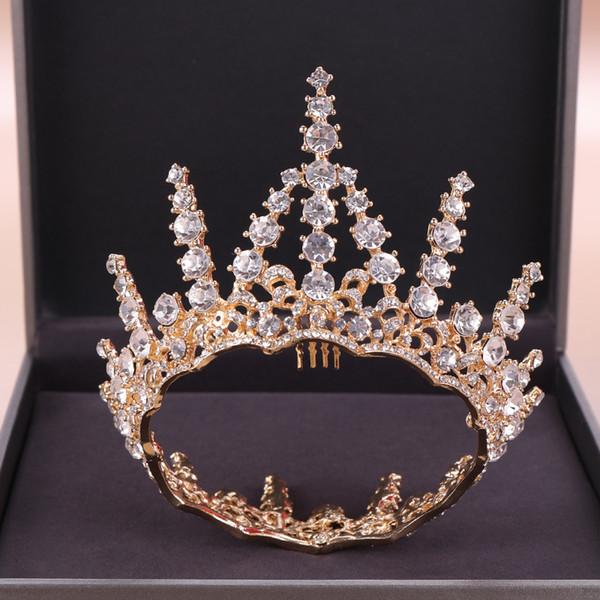 Volle Runde Kristall Braut Kronen Haarschmuck Gold Silber Farbe Prinzessin Hochzeit Kopfschmuck Mädchen Kleine Krone Diademe