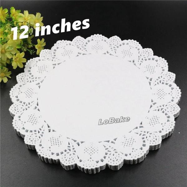 (160pcs / pack) nuovo disegno cava centrini di pizzo bianco carta tovagliette tazza tovaglietta mat cucina figura del fiore di 12 pollici rotonda