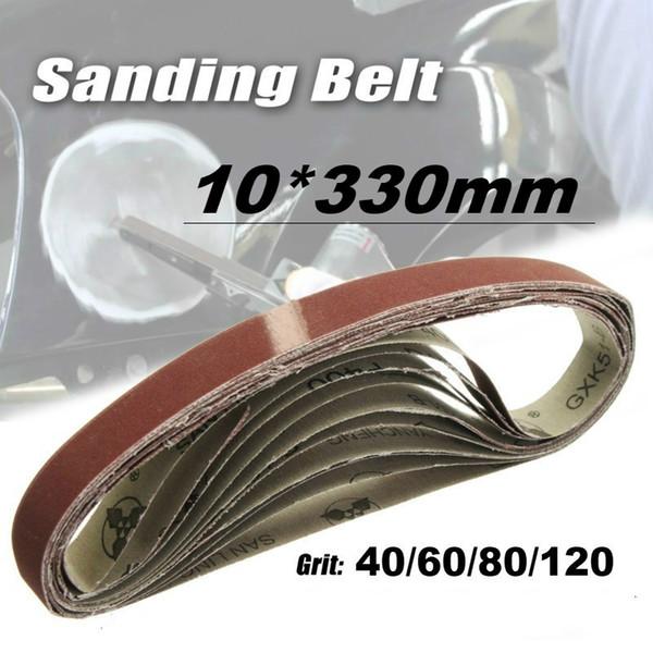 50Pcs 10x330mm Abrasive Polishing Sanding Belt for Belt Sander Grinder Drill Grinding for Dremel Accessories Grit 40/60/80/120