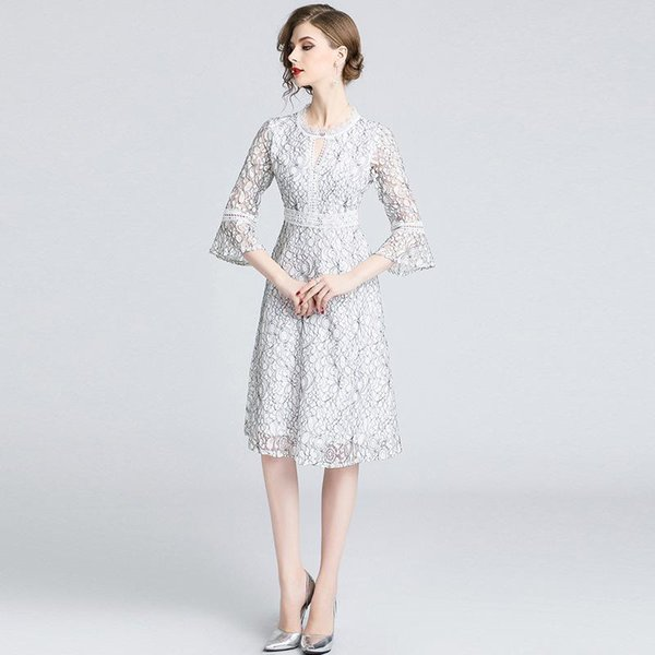 Charm Lace Wed Dress for Women Elegant Party Tunic Dress Slim Fit Flare Sleeve Hollow Out White Lace A Line Dress