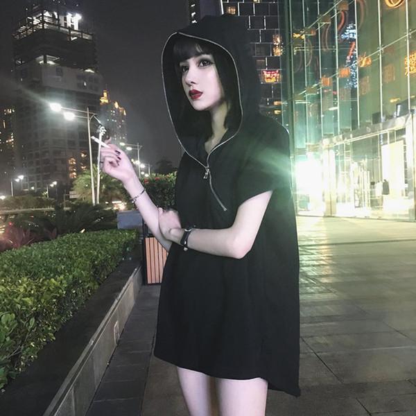 Verão Com Capuz Top Mulheres Hoodies Manga Curta Com Zíper Pullover Camisola Causal Mid-Comprimento Solto Tops