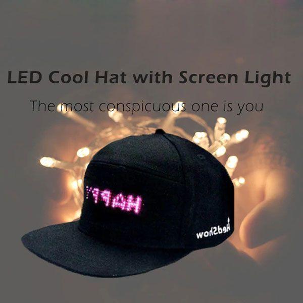 LED Screen Light Cool Hat Smartphone Controlled Waterproof Baseball Cap New
