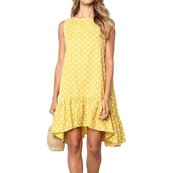 2019 las mujeres de estilo más reciente visten ropa de mujer de primavera y verano sin mangas sin mangas Lunares impresos vestidos de cuello redondo de onda falda corta2