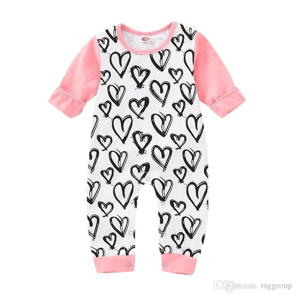 Spring INS Cute Toddler Baby Girls Love Heart Prnting Rompers Fall Long Sleeve Round Collar Jumpsuits Cotton Bodysuits Onesies 0-2T