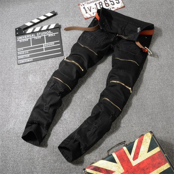 Hommes Retro Genou Rap Hole Zippé Loose Slim Jeans Fashion Hip Hop Patch Détruit Déchiré Déchiré Coton Pantalon En Denim, plus grande taille