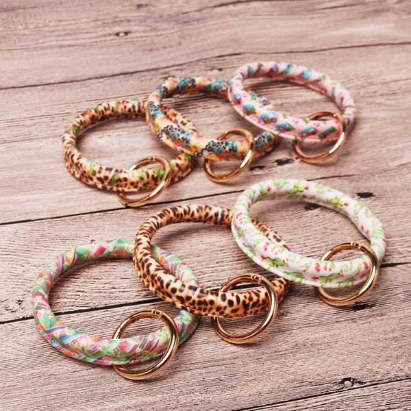 New Colors Cactus Round Bangle Keychain Wholesale Blanks 6 Colors Charmer Bracelet Keychain Clip Leopard Cactus Bag Charm Gift DOM1061254