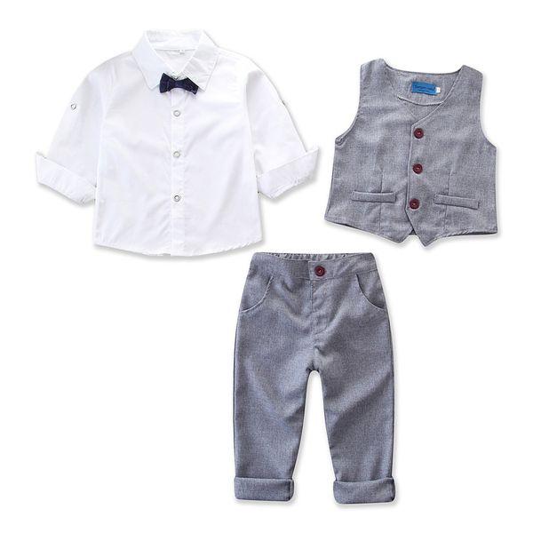 2019 summer new boy solid color gentleman college wind suit white bow tie short-sleeved shirt + vest vest + pants