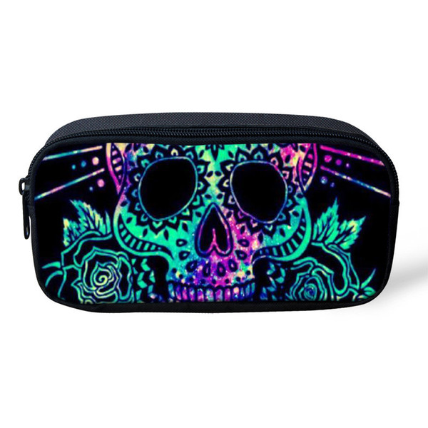 THIKIN Cool Punk Student School Pencil Bag Candy Skull Women Make up Bag Sugar Skull Zombine Polyester Pencil Case Customize