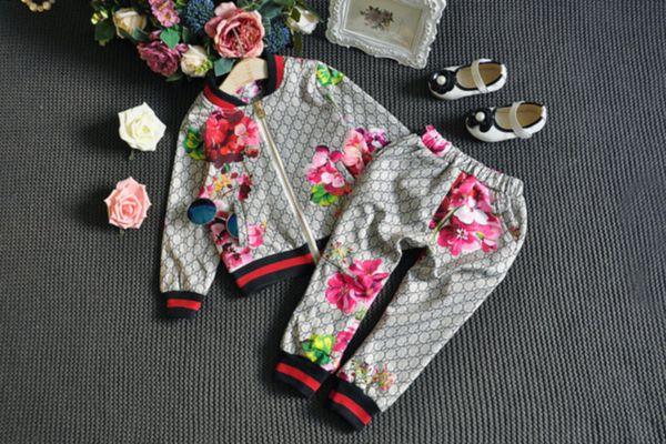 abbigliamento versione europea ed americana di piccole e medie ragazzi e le ragazze fiori stereo della camicia cerniera a maniche lunghe + pantaloni per bambini