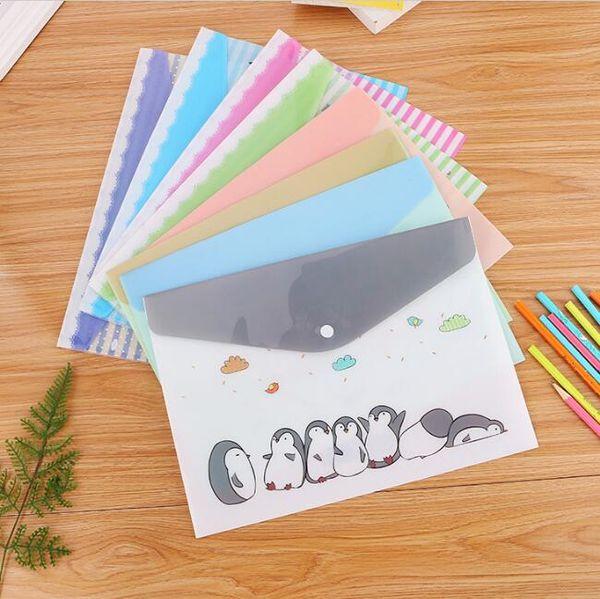 kawaii A4 cartella di file sacchetto di carta multi tasca di plastica organizzatore di documenti caso ufficio scuola studenti scatola di immagazzinaggio di cancelleria